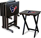 Imperial Officially Licensed NFL Merchandise: Foldable Wood TV Tray Table Set with Stand, Houston Texans