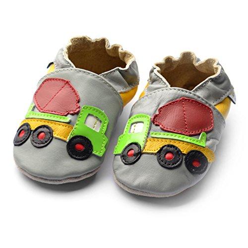 Jinwood designed by amsomo - Patucos de Piel para niña cement truck grey soft sole