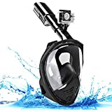 OFTEN Snorkel Full Face Mask, Scuba Diving Mask Anti-Fog Anti-Leak 180°Panoramic View Breathing Panoramic Snorkeling Gear with Detachable Camera Mount for Adults & Kids (Black, L/XL)