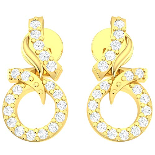 0.1ct Round Cut Natural Diamond 14k Yellow Gold Earrings For Women Circle Drop GH Color VS2 Clarity