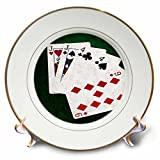 3dRose Alexis Photo-Art - Poker Hands - Poker Hands One Pair, Jack - 8 inch Porcelain Plate (cp_270575_1)