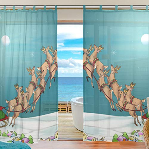Living Room Semi Sheer Curtains Antlers in Wild Alaska Forest Rusty Abstract Landscape Design Deer Window Drapes 2 Panel Set Living Room Bedroom, 55 x 78 Inches ()