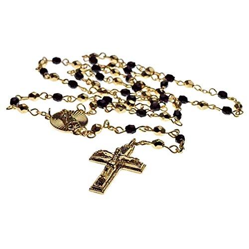 Rosario Gold Finish - Jesus Crucifix Oval Virgin Mary Gold Finish Rosario La Virgen De Guadalupe Cross Black Beads Necklace