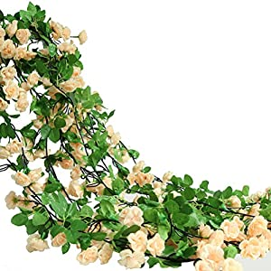 Htmeing Rose Garland Artificial Rose Vine with Green Ivy Leaves 67 Inch Flower Garland For Home Hanging Wedding Decor,Pack of 2 (champagne) 34