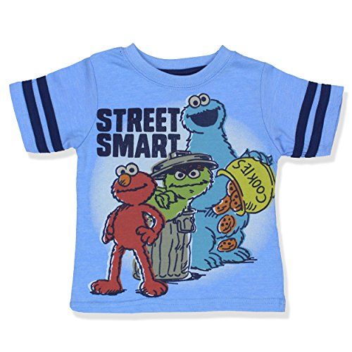 Sesame Street Toddler Boys Short Sleeve Tee (2T, Blue Street Smart) (Toddler Cookie)
