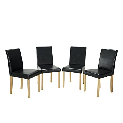 Comfortableplus Urban Style Solid Wood Leatherette Padded Parson Dining  Chairs,Dining Upholstered Side Chair
