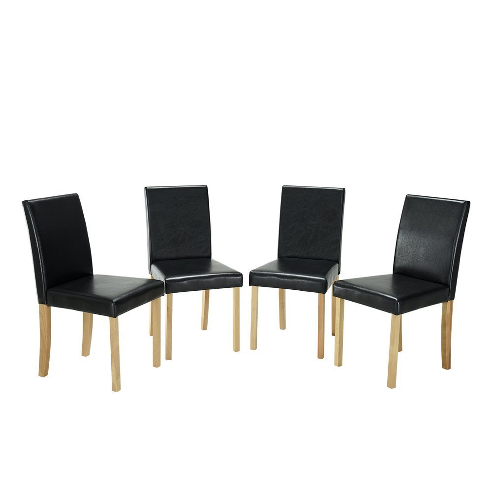 Comfortableplus Urban Style Solid Wood Leatherette Padded Parson Dining Chairs,Dining Upholstered Side Chair - Curved Back Black Black Seat+Original Legs