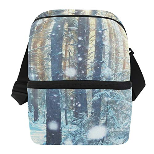 Lunch Bag Frosty Winter Landscape Insulated Cooler Bag Adult Leakproof Thermos Storage Zipper Tote Bags for - Pate Wine