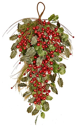"Worth Imports 28"" Pine Berry Holly Leaf Teardrop,"
