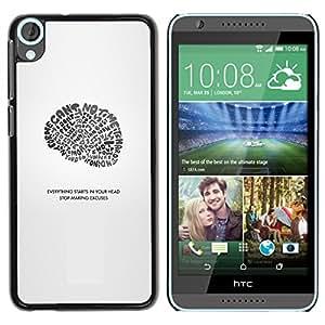 A-type Arte & diseño plástico duro Fundas Cover Cubre Hard Case Cover para HTC Desire 820 (Todo comienza en su cabeza)