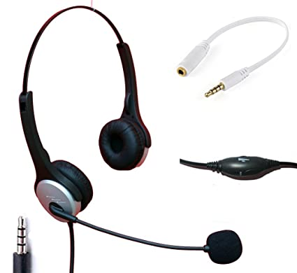 voistek wired cell phone headset with noise canceling boom mic adjustable  headband for iphone samsung lg