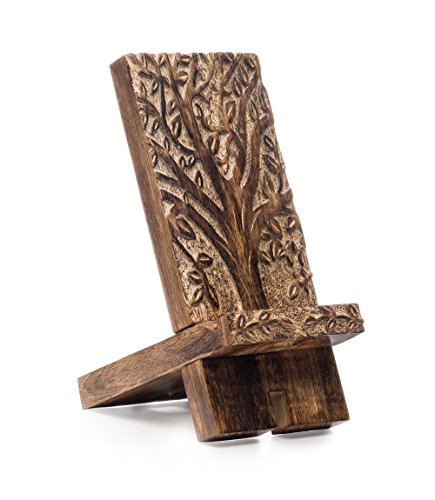 Hand-Carved Wood Cell Phone Stand & Dock : Cradle, Holder, Stand for Switch, All Android Smartphone, iPhone 6 6s 7 8 X Plus 5 5s 5c Charging, Accessories Desk - Mango Wood by Matr Boomie LLC