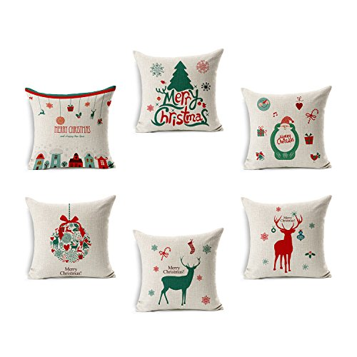 Tailbox Merry Christmas Series Cotton Linen Square Decorative Throw Pillow Case Cushion Cover 18