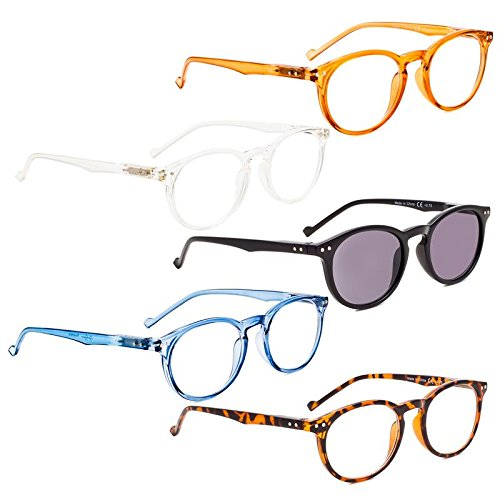 READING GLASSES 5 pack Oval Round Readers Include Sunglasses