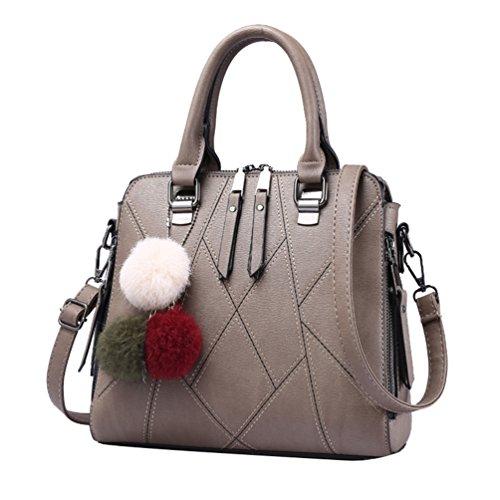 YouPue Stilvolle Damen Handtaschen PU Leder Henkeltaschen Shopper Crossbody Tasche Hairball Ornamente Kaffee kLXY9rj