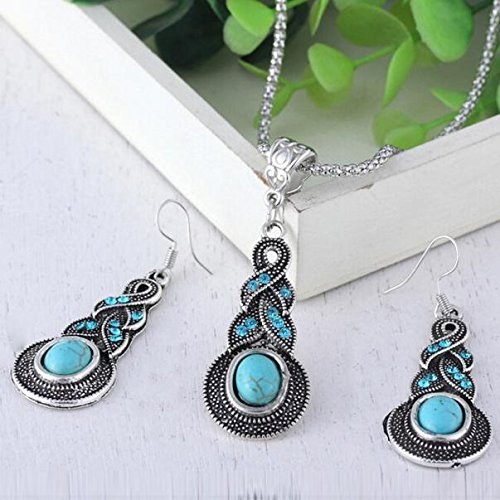 Vintage Water Drops Blue Turquoise Pendant Necklace and Earrings Set Jewelry Gift for Women Girls Lover Teens Couples Decors Engagement Wedding Anniversary Presents