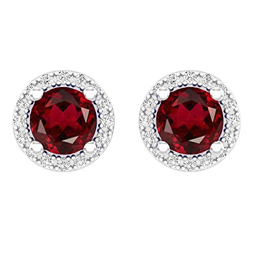 14K White Gold Round Red Garnet & White Diamond Ladies Halo Style Stud Earrings 2 CT (Garnet Earrings Gold White)