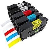5-Pack Compatible Brother P-touch Label Tape 12mm 0.47 Inch TZe Tapes TZE-131 TZE-231 TZE-431 TZE-531 TZE-631, TZ Tape for Ptouch H110 PT-1280 D210 D400 D600 H100 1880 1890 Label Maker