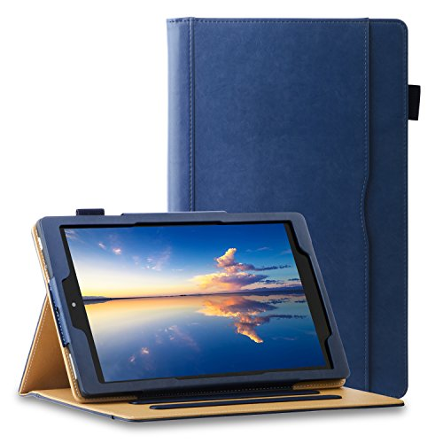 All New HD 10 Tablet Leather Case (7th Generation,2017 Released), [Auto Sleep/Wake][Corner Protection] Lightweight Multi-Angle Viewing Folio Stand Cover with Business Document & Card Pocket - Blue