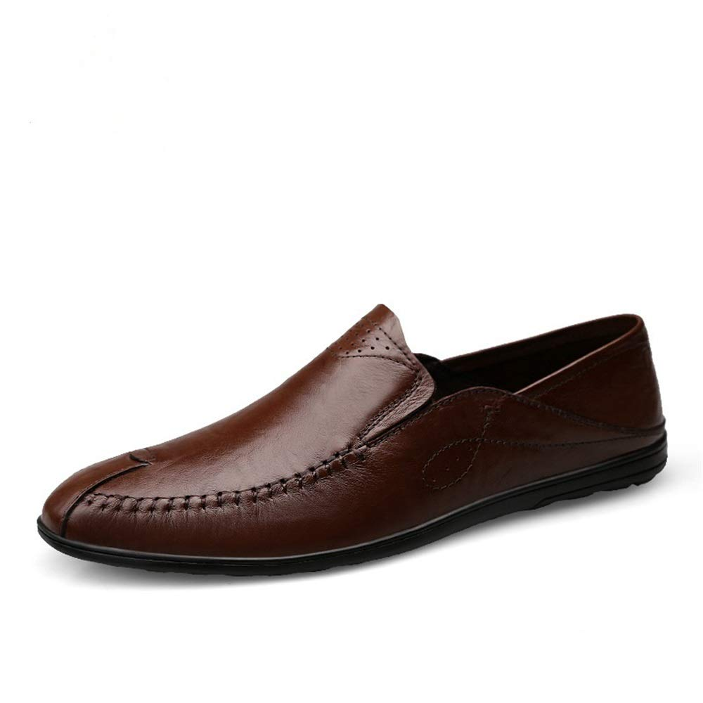 Darkbrown Man Driving Loafer Casual Soft OX Leather Breathable Anti-Skid Easy to Match Business Boat Moccasins shoes for Men