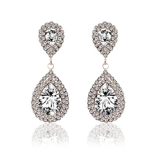 Gold Plated Wedding Earrings (Miraculous Garden Womens Crystal Rhinestone Wedding Hypoallergenic Drop Earrings for Mother's Day Silver Gold Rose Gold Plated (Gold White))