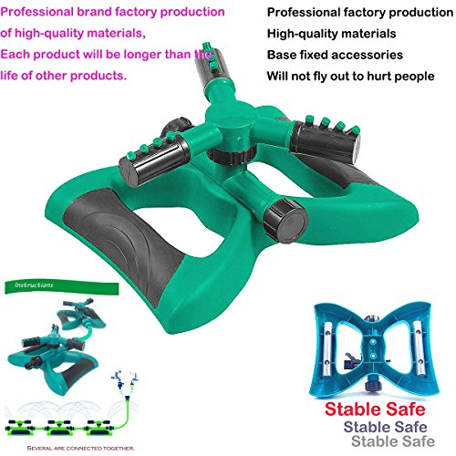 Sprinklers Watering Equipment Garden Hose Lawn Automatic Rotation 360 Degree 3 Nozzles Sprayer System Base Fixed