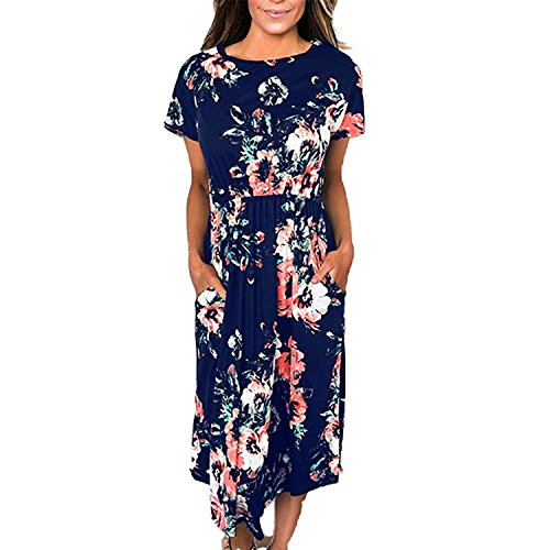 Sky-Pegasus 2018 Size 3XL Summer Women Casual Party Dresses Vintage Floral Short Sleeve Summer Costume,Royal (Edwardian Queen Bed)