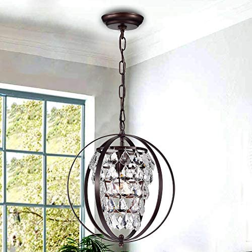 PAPAYA Globe Crystal Chandelier Orb Pendant Lighting Oil Rubbed Bronze Chandeliers 1 Light Ceiling Light Fixture
