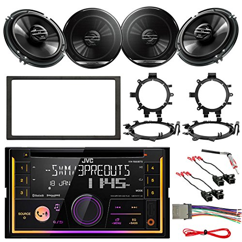 JVC KW-R930BTS Double DIN Bluetooth Car CD Player Stereo Receiver Bundle Combo With 4 x 6.5 300W Coaxial Speakers w/Brackets & 4x Wiring Harness, Dash kit, 4x Antenna Adapter GM Vehicles