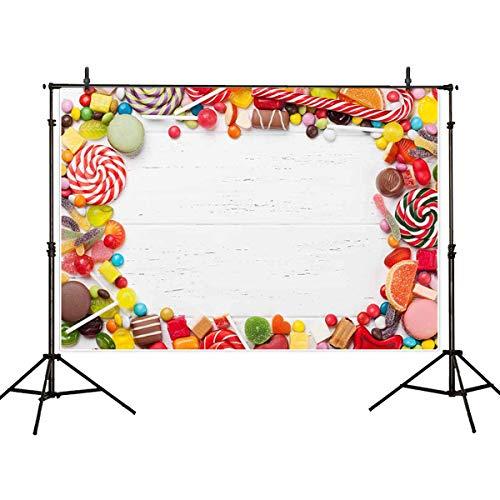 Allenjoy 7x5ft Vinyl Candy Photography Backdrop White Wooden Photo Background Studio Prop for Child Kid Baby Shower]()