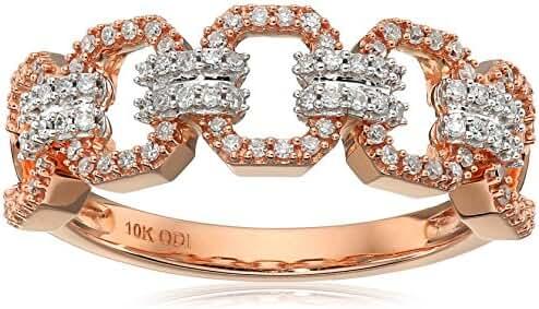 10k Rose Gold Diamond Open Link Ring (1/4cttw, I-J Color, I2-I3 Clarity), Size 7