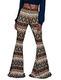Herose Ladies Soft Ethnic Boho Pattern Bell Bottom Floor Length Flared Pants S-2XL