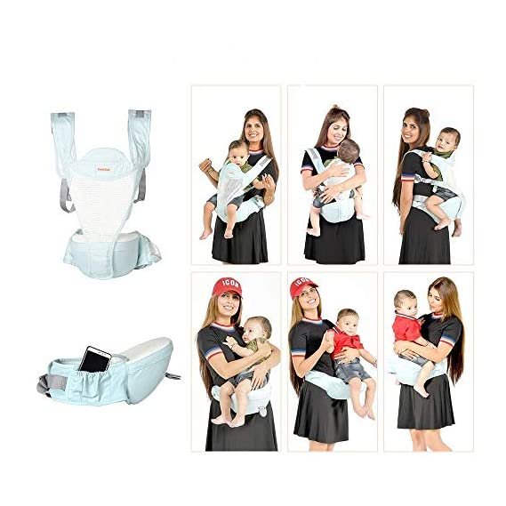 Noymi Kids 6-in-1 Adjustable Baby Carrier with Hip seat/Baby Carry Sling/Back/Detachable seat Belt/Front Carrier for