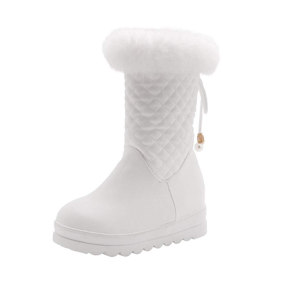 Hy Frauen Stiefel Winter Künstliche PU Dicke Unterseite Warme Schneeschuhe Damen Winter Wasserdicht Schneefest Stiefelies Stiefeletten Weiß Schwarz Rosa (Farbe   Weiß Größe   34)