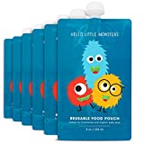 Hello Little Monsters Reusable Squeeze Food Pouch,  Large - 8 oz (6 Pack)