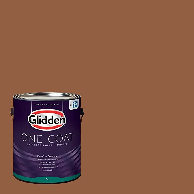 Amazon Com Glidden Exterior Paint Primer Brown Cinnamon Spice One Coat Flat 1 Gallon Home Improvement