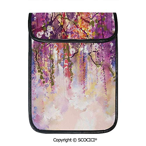 SCOCICI Shockproof Tablet Sleeve Compatible 12.9 Inch iPad Pro Spring Flowers Floral Texture Print of Japanese Garden Tablet Protective Bag