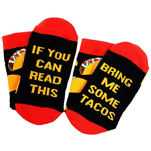 Moyel If You Can Read This Socks For Women Food Crew Cotton Funny Gifts (Taco, 1)