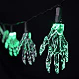 2.2m 10 Halloween Jack O Skeleton Hands LED String Lights, Indoor used, Battery Operated, Great for Halloween Celebration (Warm White)