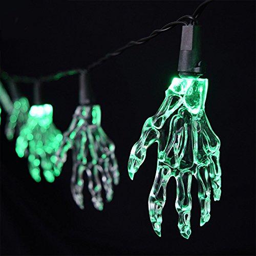 2.2m 10 Halloween Jack O Skeleton Hands LED String Lights, Indoor used, Battery Operated, Great for Halloween Celebration (Warm (Halloween Makeup Puppet)
