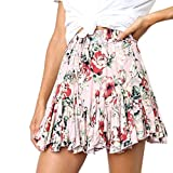 Womens A-Line Mini Skirts Casual Retro High Waist Print Evening Party Short Skirt Vintage Pleated Dress (L, Pink)