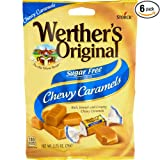 Werther's Original Sugar Free Chewy Caramels 2.75 Ounces - 6 Pack