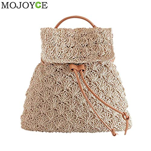 Backpack Drawstring Bag Hollow Out Preppy Knitting Backpacks Manual Made Tote Beautiful Beach ()