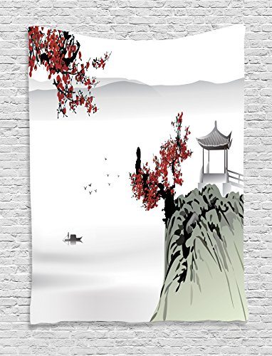 Ambesonne Asian Decor Tapestry, River Scenery Cherry Blossoms Boat Cultural Hints Mystical View Artsy Work, Wall Hanging Bedroom Living Room Dorm, 60 x 80 inches, Ruby Light ()