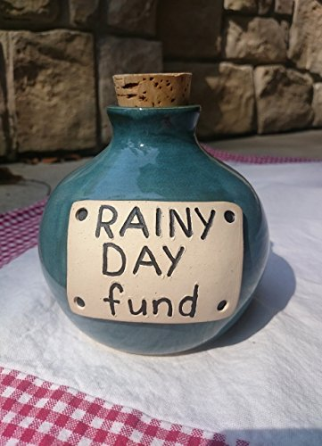 Handmade Rainy Day Fund Stoneware Ceramic Pottery Bank in Turquoise Blue Green with Cork