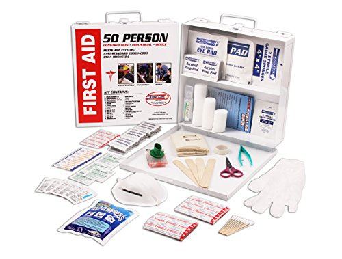 Rapid Care First Aid 082233C 50 Person 233 Piece ANSI/OSHA Compliant Emergency First Aid Kit In Wall Mountable Metal Case, Pack of 6