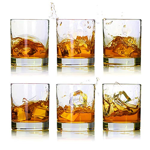 Whiskey Glasses-Premium 11 OZ Scotch Glasses Set of 6 /Old Fashioned Whiskey Glasses/Perfect Gift for Scotch Lovers/Style Glassware for Bourbon/Rum glasses/Bar whiskey glasses,Clear