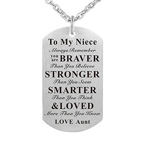 Kisseason To My Niece Birthday Gift Jewelry Dog Tag Keychain Pendant Necklace From Aunt by Kisseason