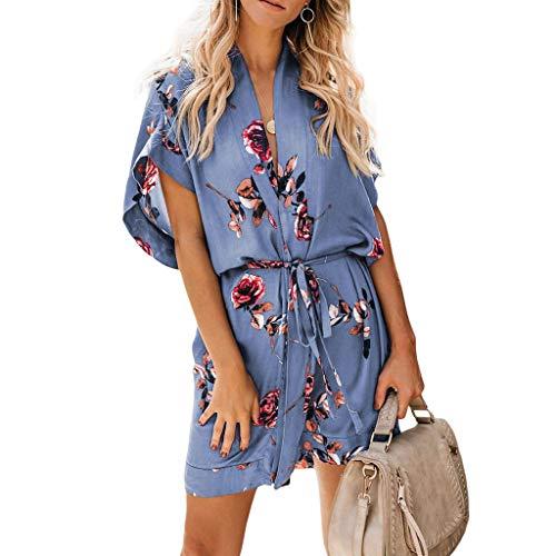 (JESPER Women Boho Floral Print V Neck Hawaiian Style Beach Short Sleeve Party Dress with Belt Blue)