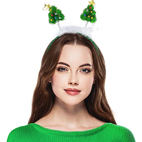 - Lux Accessories Green Festive Christmas Xmas Tree Star Antenna Headband